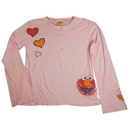 Junk Food - Big Girls Long Sleeve Henley Tee Shirt Pink Elmo / 14
