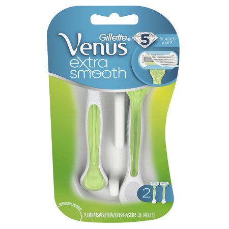 Gillette Venus Extra Smooth, Green Disposable Women's Razors - 2 Count