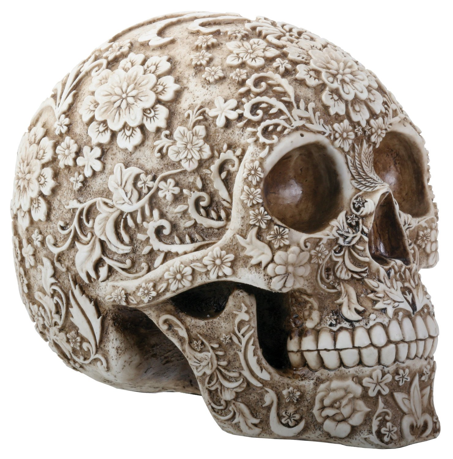 Natural Colored Floral Human Skull Day of the Dead Dia de Los Muertos Figurine by YTC Summit International