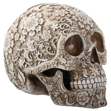 Natural Colored Floral Human Skull Day of the Dead Dia de Los Muertos Figurine - Dia De Los Muertos Cat