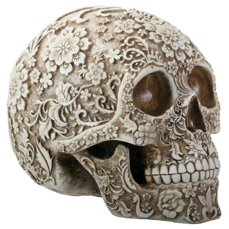 Natural Colored Floral Human Skull Day of the Dead Dia de Los Muertos Figurine - Dia De Los Muertos Skull