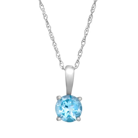 1/2 ct Natural Swiss Blue Topaz Pendant Necklace in 10kt White Gold,