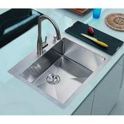Stufurhome 25'' x 22'' Overmount Single Basin Kitchen Sink