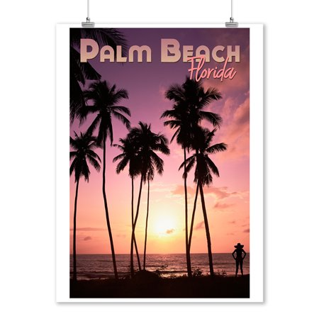 Palm Beach, Florida - Beach Scene - Palm Trees & Sunset - Lantern Press Photography (9x12 Art Print, Wall Decor Travel Poster) - Palm Trees And Beach Scenes