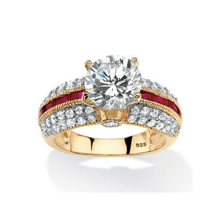 5.51 TCW Round Cubic Zirconia and Created Ruby Ring in 14k Gold Over .925 Sterling Silver