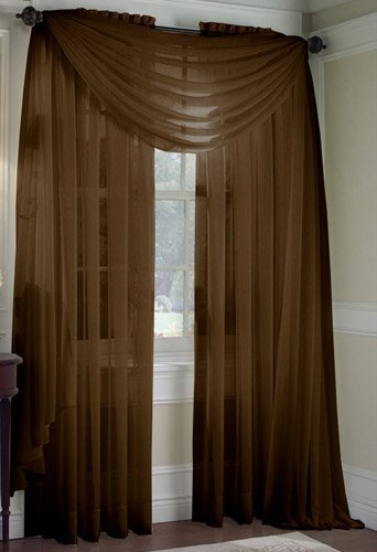 LuxuryDiscounts 2 Piece Solid Chocolate Brown Elegant Sheer Curtains Fully Stitched Panels... by