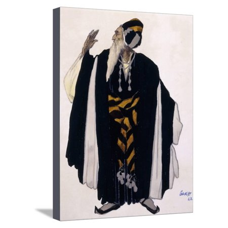 Costume Design for a Jewish Elder for the Drama 'Judith', 1922 (Pencil, W/C and Gouache on Paper) Stretched Canvas Print Wall Art By Leon Bakst - Jewish Costume