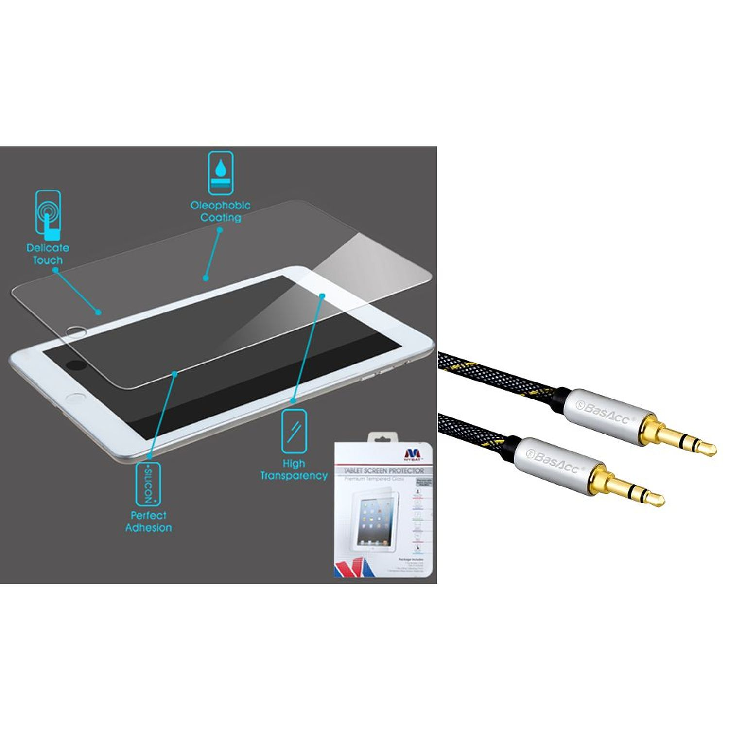 Insten Tempered Glass Screen Protector for iPad Mini/Mini with Retina Display 1st 2nd (+ 3.5mm Universal Audio Cable)