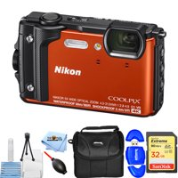 Nikon COOLPIX W300 Digital Camera (Orange) #26524 STARTER BUNDLE with 32GB SD, Memory Card Reader, Gadget Bag, Blower, Microfiber Cloth and Cleaning Kit