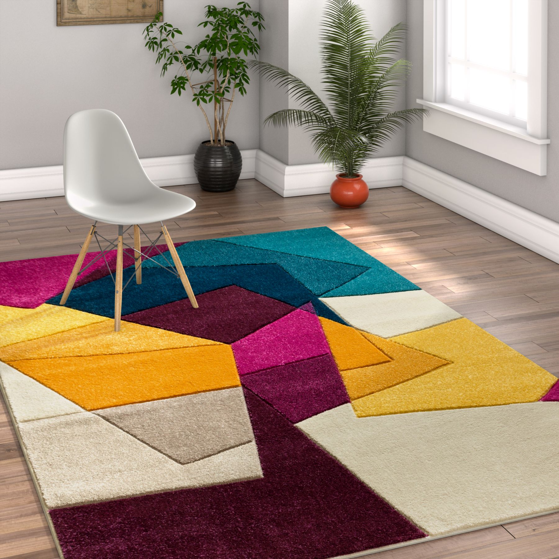 Well Woven Ruby Bombay Modern Geometric Violet Area Rug