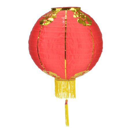 Red Traditional Nylon Chinese Lantern with Tassel, 18in Traditional Chinese Lantern