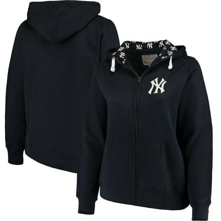 New York Yankees Soft as a Grape Women's Plus Size Pennant Race Full-Zip Hoodie - Navy