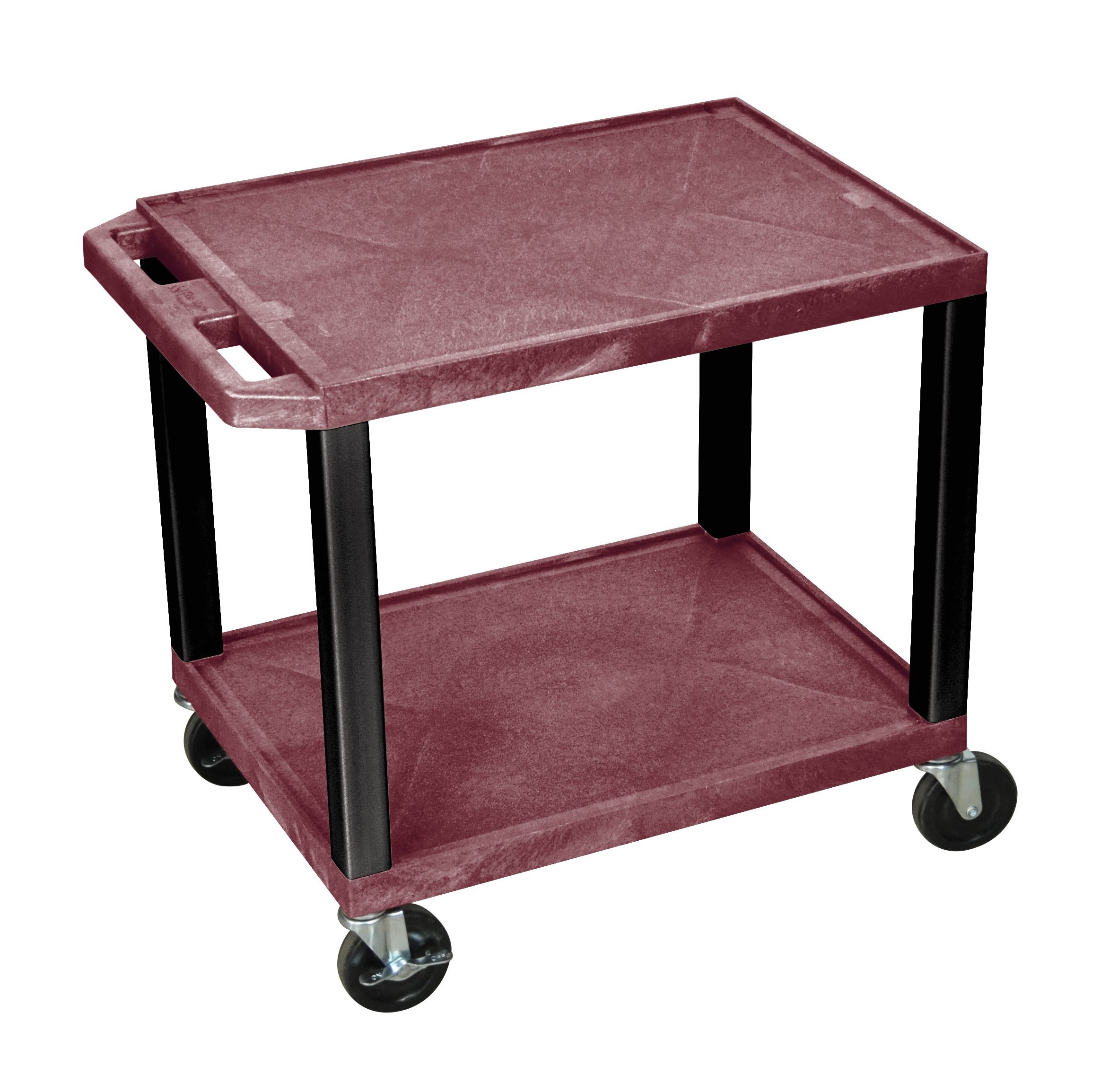 Luxor Audio Visual Equipment Storage Cart with 2 Shelves and Black Legs