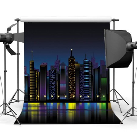 ABPHOTO Polyester 5x7ft New York City Night View Backdrop Cartoon Backdrops Skyscraper Glitter Lights Photography Background for Kids Boys Birthday Party Photo Studio Props](Halloween Props New York City)