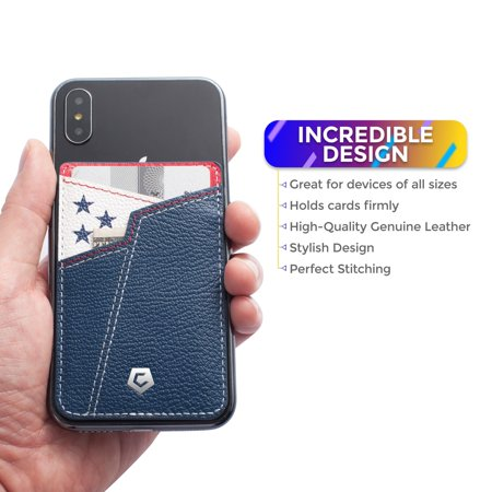Cobble Pro Stick-On Genuine Leather Card Holder Adhesive Cell Phone Wallet for iPhone 11 / 11 Pro / 11 Pro Max XS X 8 7 6 6s Plus SE G6 G7 Samsung Galaxy S9 S9+ S8 S8+ S7 Note 8 J7 J3 Pittsburgh Black - image 3 de 6