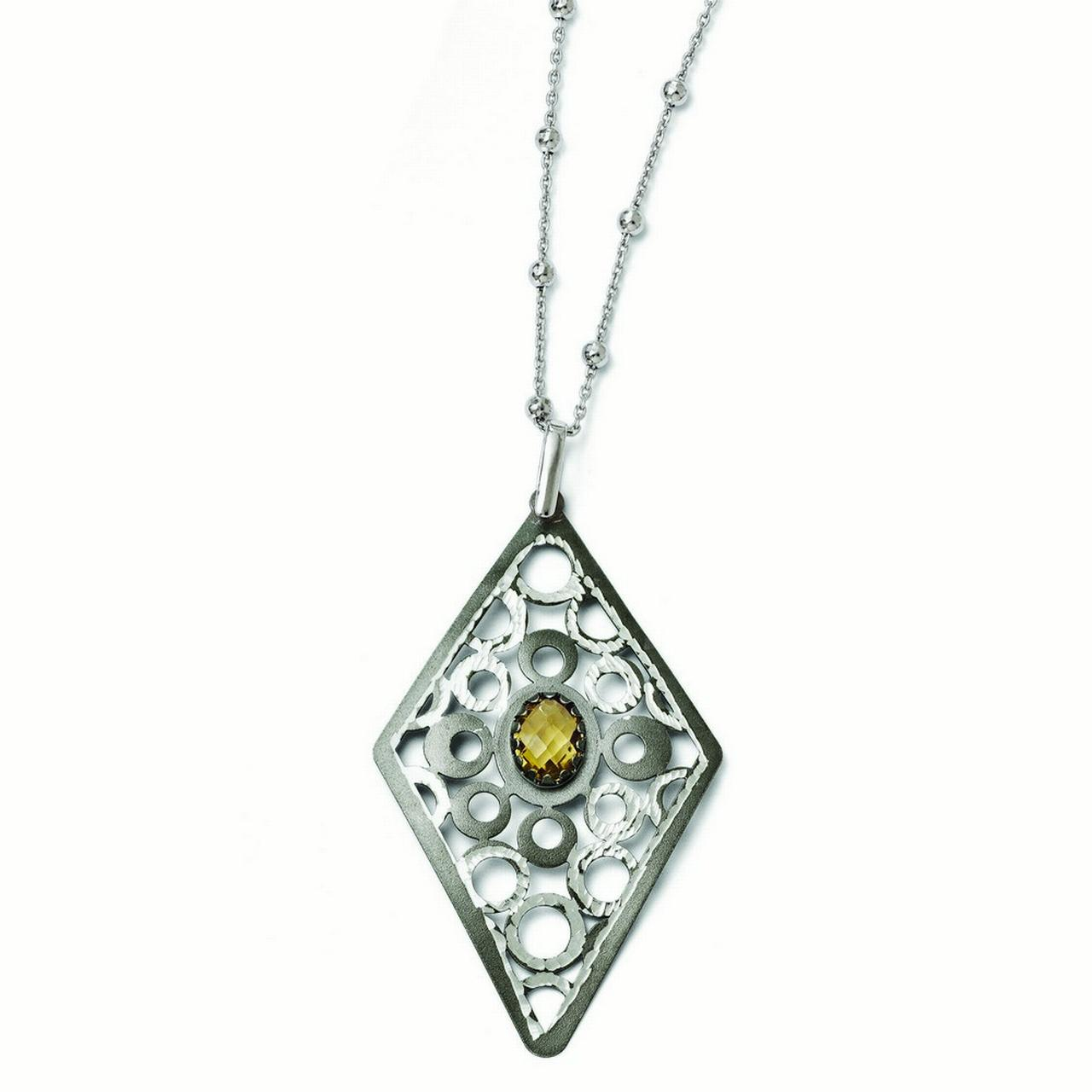 Sterling Silver and Ruthenium Citrine Necklace With 2inch Ext. by