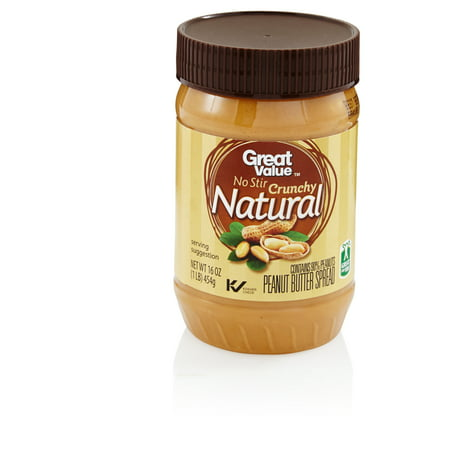 Great Value Natural No Stir Crunchy Peanut Butter  16 Ounces