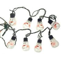 LED Christmas Snowman 8-Bulb Glass String Light Set, Clear, 3-Inch