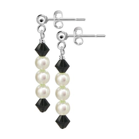 Gem Avenue 925 Sterling Silver Freshwater Pearl Drop Post Back Earrings Pearl 925 Sterling Silver Drop