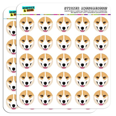 "Pembroke Welsh Corgi Face Pet Dog 1"" Scrapbooking Crafting Stickers"