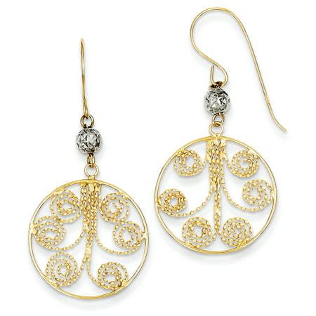 14kt Two Tone Yellow Gold Circle Swirl Drop Dangle Chandelier Earrings Fine Jewelry For Women Gift Set