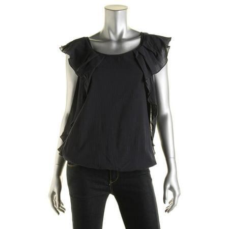 Cascade Sleeveless - Studio M Womens Cotton Cascade Ruffle Pullover Top