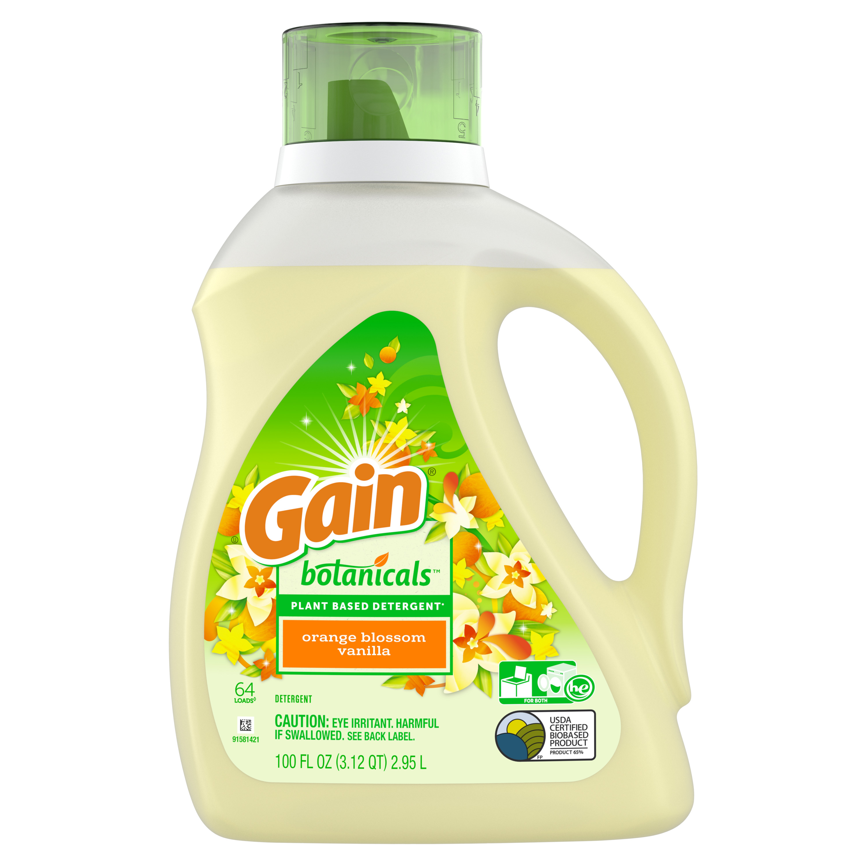 Gain Botanicals Plant Based Laundry Detergent, Orange Blossom Vanilla, 64 Loads 100 fl oz