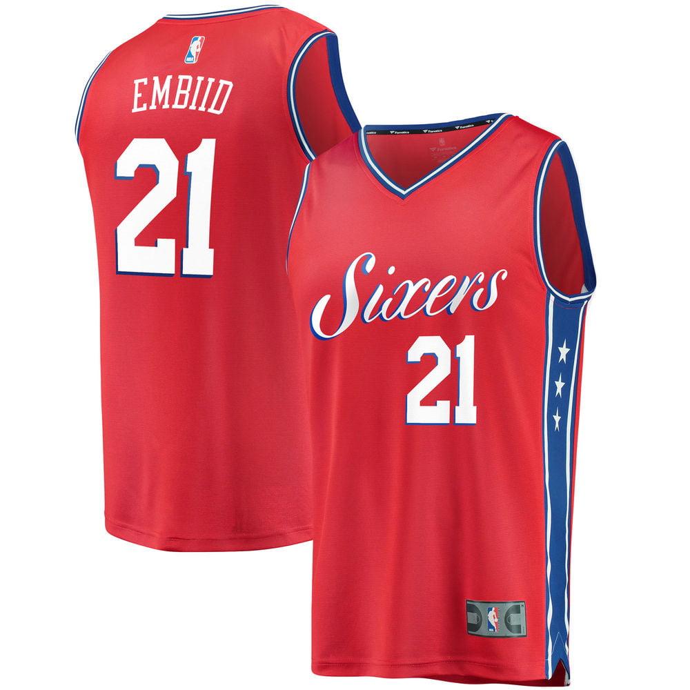 931ea9edbc4 ... reduced mens philadelphia 76ers joel embiid fanatics branded red fast  break replica jersey statement edition walmart