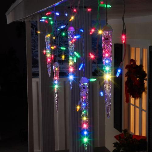 Gemmy Lightshow Christmas Lights 87-Count LED Shooting Star Icicle Lights, Multi-Color, 9.5' Long
