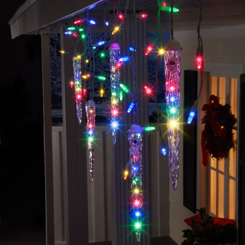 LightShow 87-Count LED Shooting Star Icicle Christmas Lights, Multi-Color, 9.5' Long