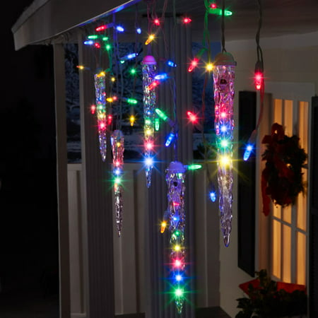 gemmy lightshow christmas lights 87 count led shooting star icicle lights multi color