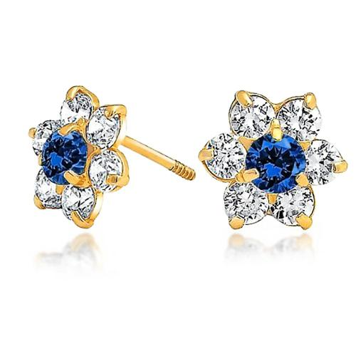 Bling Jewelry Kids Simulated Sapphire CZ Screw Back Flower Studs 14k Gold