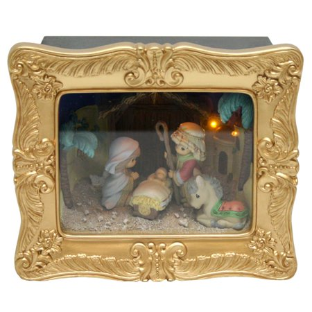 Precious Moments Deluxe Nativity Shadow Box Resin Music Box 141110