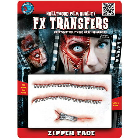 Halloween Professional 3D Tattoo, Zipper Face - Paint Face Halloween Designs