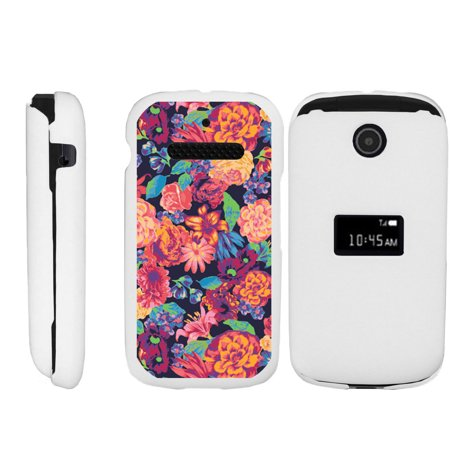 ZTE Cymbal Z320 Matte White 2 Piece Snap Shell Case with Unique Printed Designs - Floral -