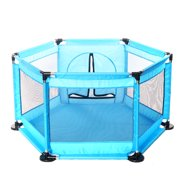 6 Sided Baby Playpen Playinghouse Interactive Kids Toddler Room With Safety Gate (mat not Include)