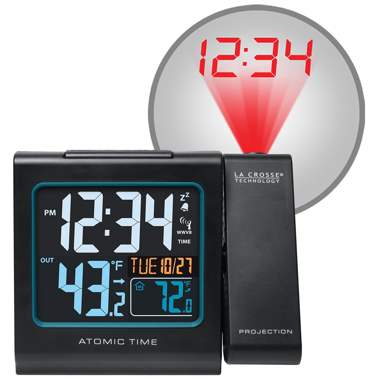 "La Crosse Technology Projection 5"" Color LCD Alarm Clock with Temperature, Black"
