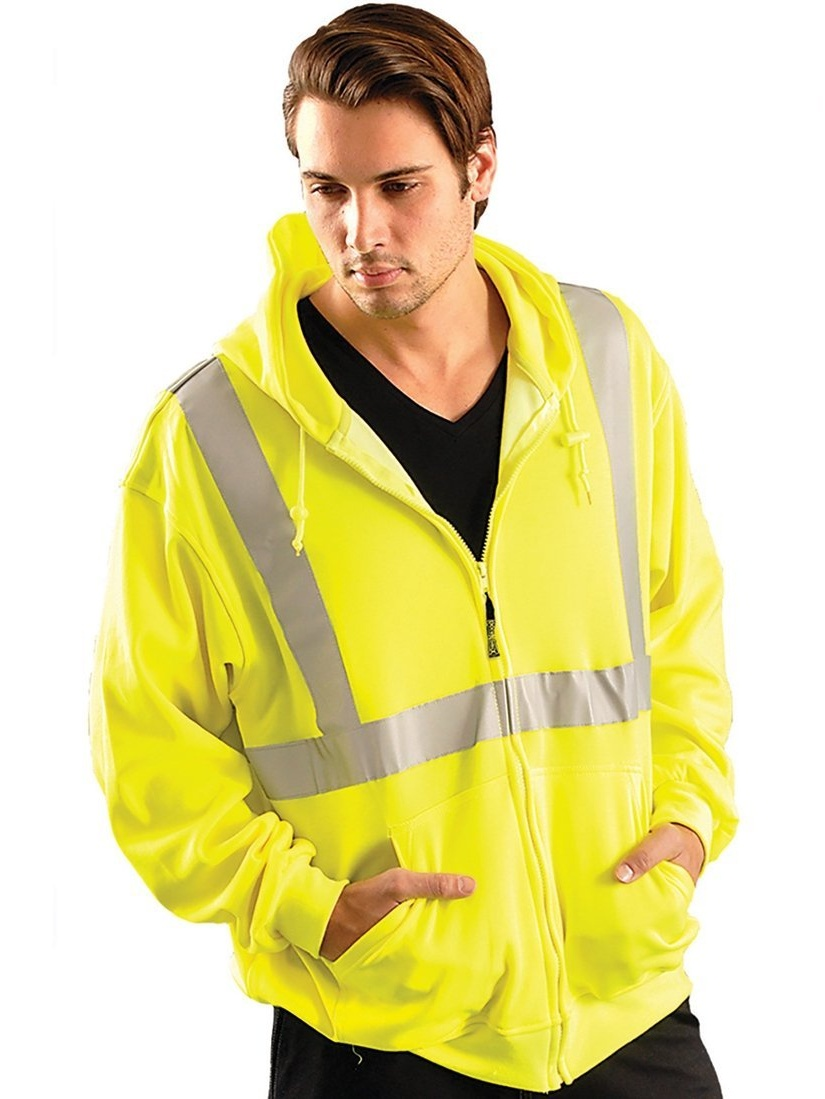 LUX-SWTLH-YL Class 2 High Visibility Lightweight Hoodie, Large, Yellow, By Occunomix from USA