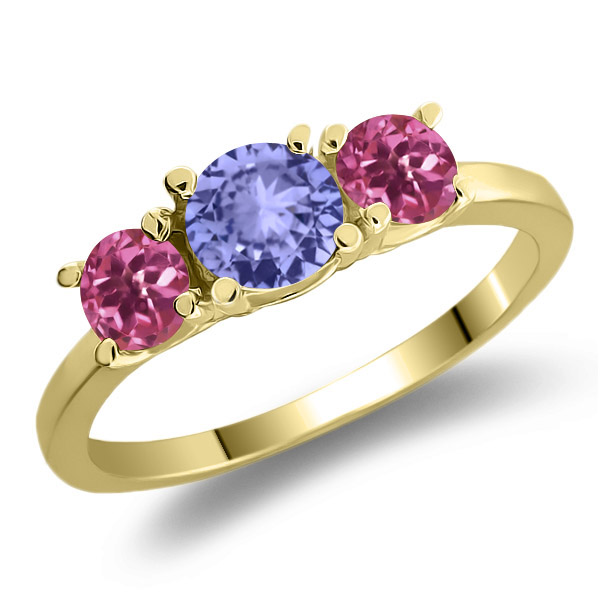 0.94 Ct Round Blue Tanzanite Pink Tourmaline 18K Yellow Gold 3-Stone Ring by