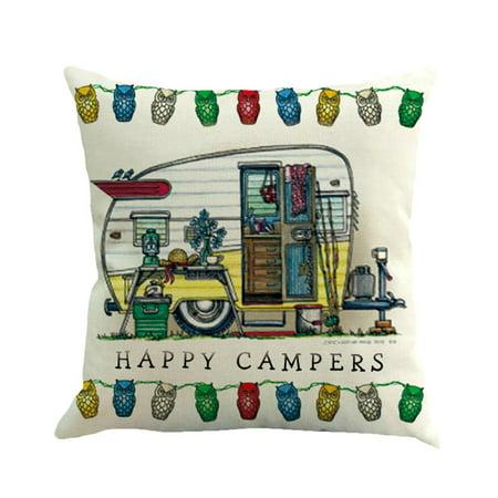 Mosunx Home Decor Ornate HAPPY CAMPERS Sofa Waist Throw Cushion Cover Pillow Case](Hippy Home Decor)