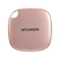 Hyundai 256GB Ultra Portable Data Storage Fast External SSD, PC/MAC/Mobile- USB-C/USB-A, Dual Cable Included, Rose Gold – HTESD250RG
