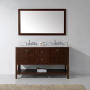 VIRTU USA  Winterfell 60-inch Square White Marble Cherry Double Bathroom Vanity Cabinet Set