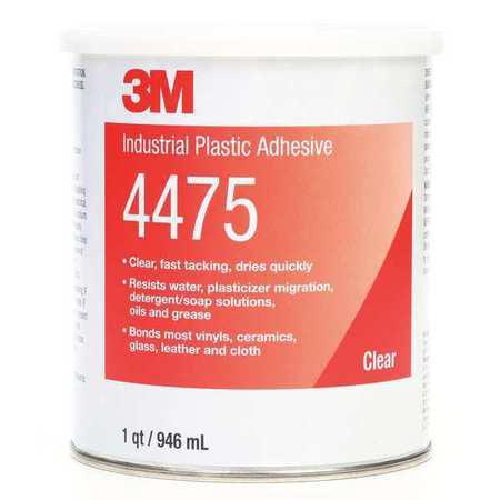 Scotch-Weld Plastic Adhesive, General, 1 Qt, Clear SCOTCH-GRIP 4475 (Clear Adhesive)