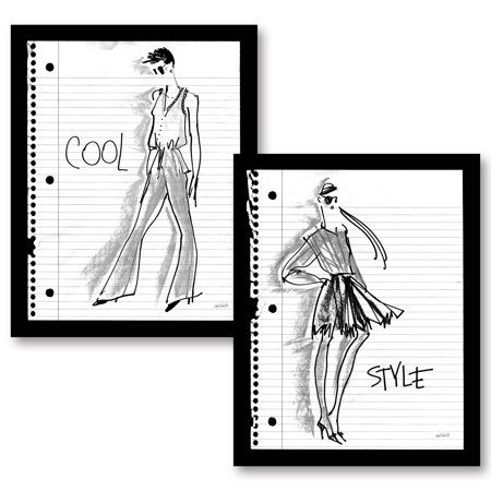 Gango home decor glam doodle style two 11x14in unframed paper posters walmart com
