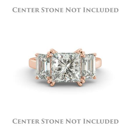 Emerald Semi Mount Ring - Princess Semi Mount 3 Stone Engagement Ring Emerald Real Diamond 18k Rose Gold