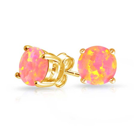 Pink Golden Created Opal Round Solitaire Stud Earrings Basket Set 14K Gold Plated Sterling Silver 6mm October Birthstone