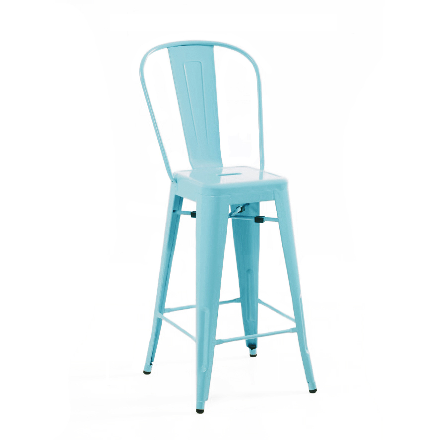 Dreux Matte Cyan High Back Steel Counter Stool 26 Inch