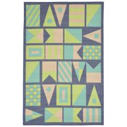 """Playa Signal Flags Cool Rug-Color:Blue,Size:7'6""""Lx4'10""""Wx0.125""""H"""