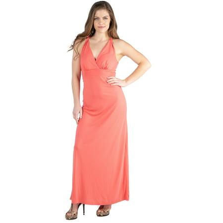 24seven Comfort Apparel Coral Backless Halter Maternity Maxi Dress