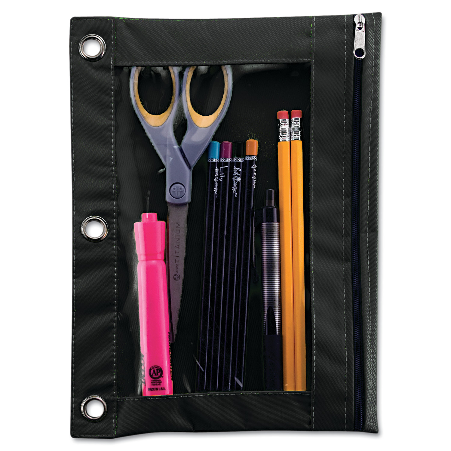 Advantus Binder Pencil Pouch, 10 x 7 3 8, Black Clear by ADVANTUS CORPORATION